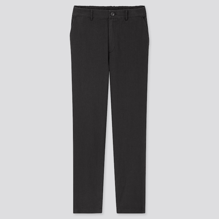 Women Linen Cotton Tapered Pants, Black, Large