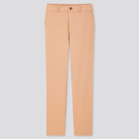 Women Linen Cotton Blend Tapered Trousers