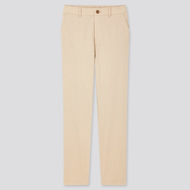 Women Linen Cotton Tapered Pants, Natural, Medium