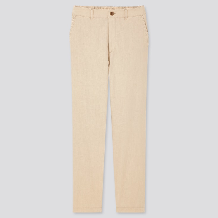 Women Linen Cotton Tapered Pants, Natural, Large