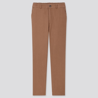 Women Linen Cotton Tapered Pants, Brown, Medium