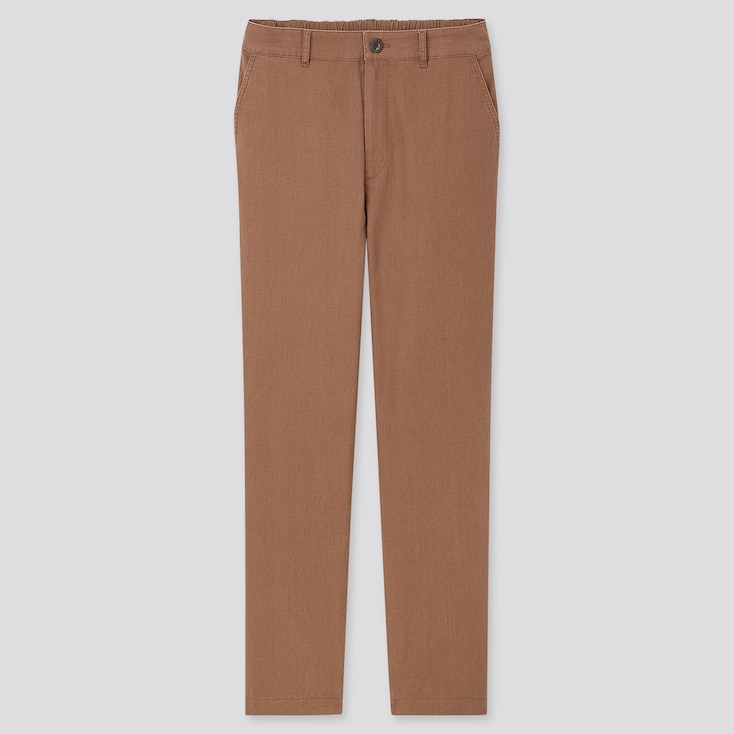 Women Linen Cotton Tapered Pants, Brown, Large
