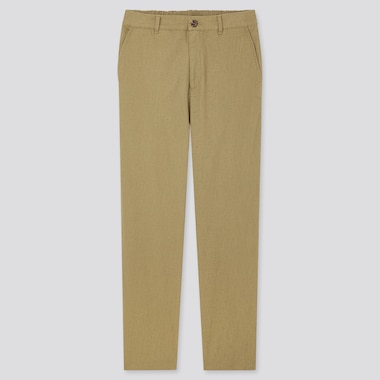 Women Linen Cotton Blend Tapered Trousers