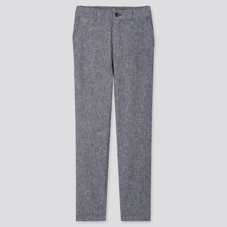 Women Linen Cotton Tapered Pants, Blue, Large
