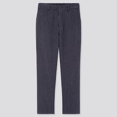 Women Linen Cotton Tapered Pants, Navy, Medium