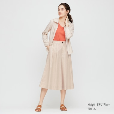 Women Linen Cotton Blend Wide Fit Cropped Trousers