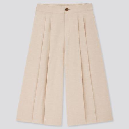 Damen Cropped Leinen Baumwoll Hose