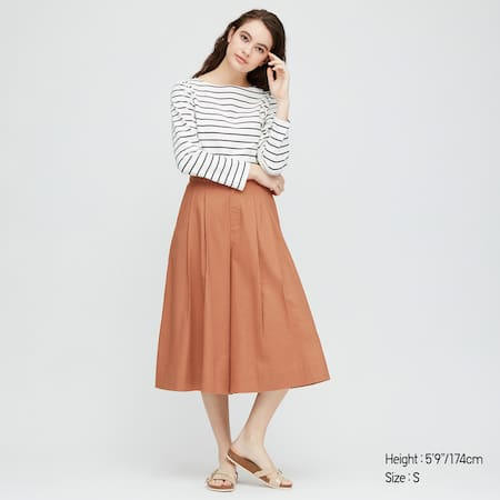 Women Linen Cotton Blend Wide Fit Cropped Trousers