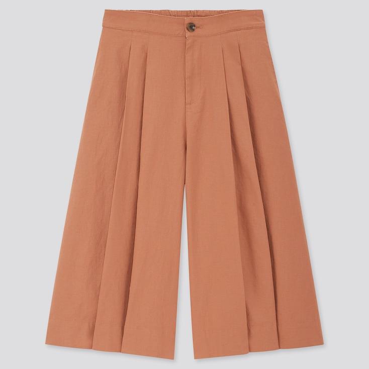 Women Linen Cotton Wide Cropped Pants, Brown, Large