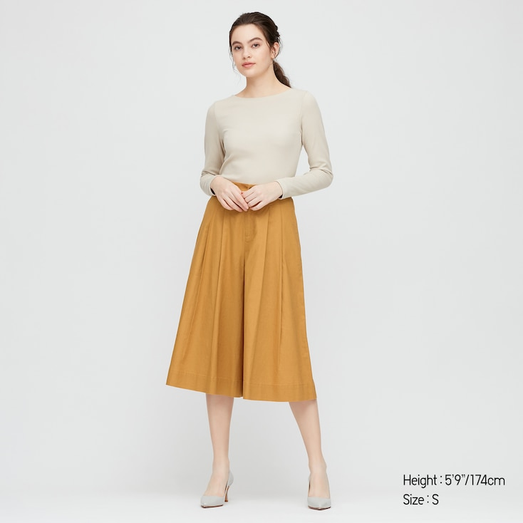 Women Linen Cotton Wide Cropped Pants, Yellow, Large