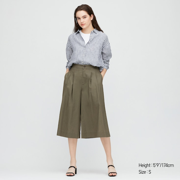 Women Linen Cotton Wide Cropped Pants, Olive, Large