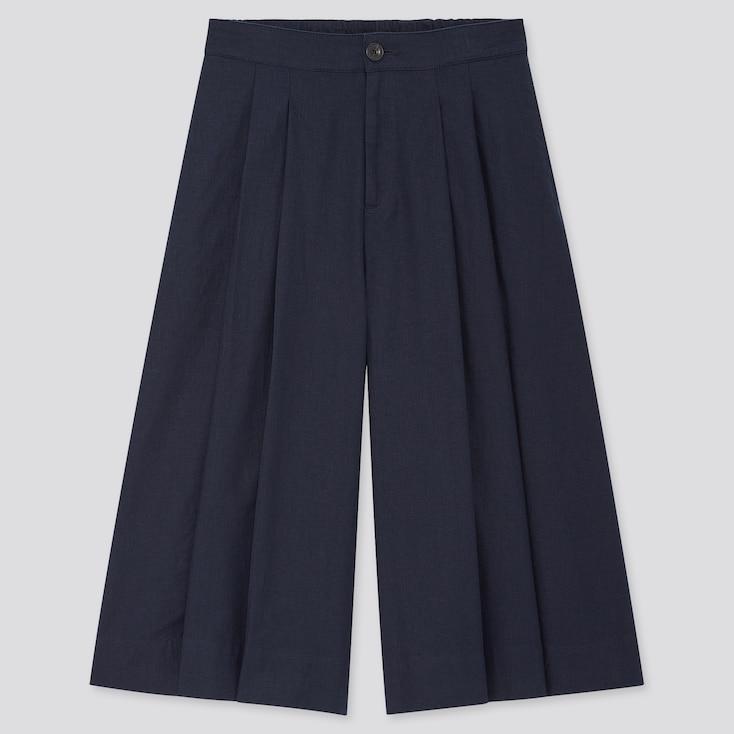 Women Linen Cotton Wide Cropped Pants, Navy, Large