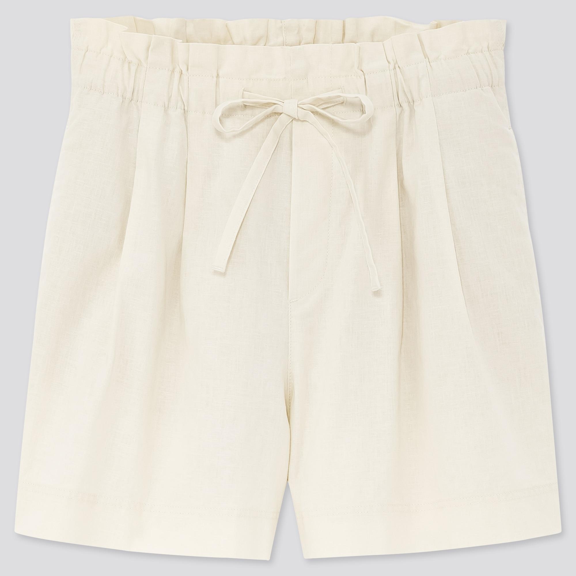 women linen cotton relaxed shorts