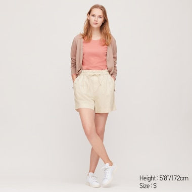 Women Linen Cotton Relaxed Shorts, Off White, Medium