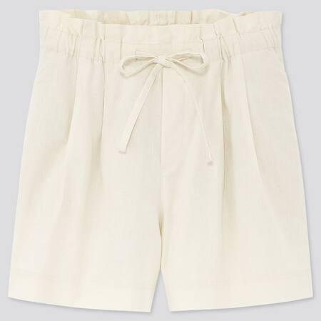 Damen lockere Shorts aus Leinen-Baumwollmix