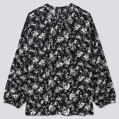 Women Printed Gathered Long-Sleeve Blouse, Black, Medium