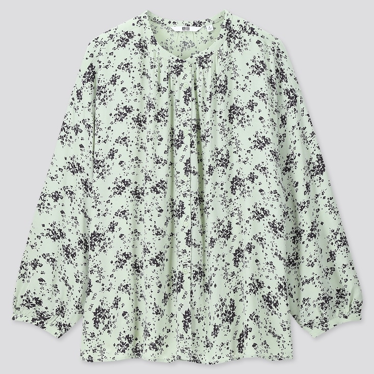 Women Printed Gathered Long-Sleeve Blouse, Light Green, Large
