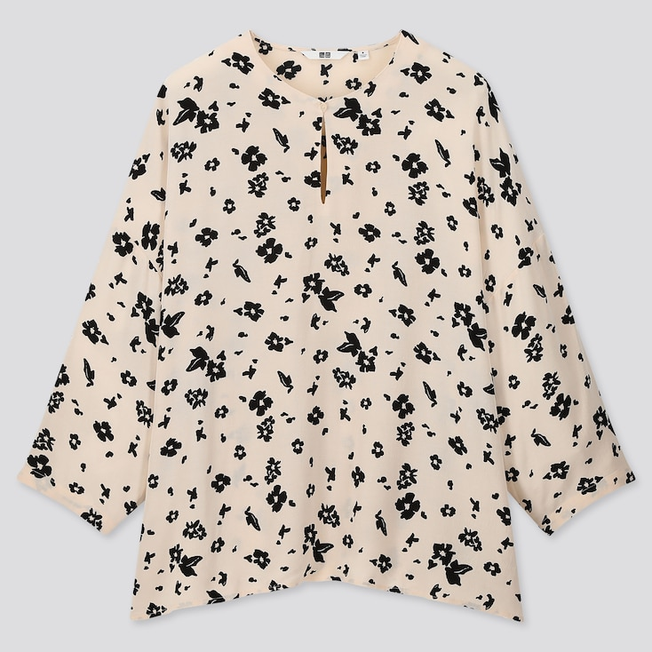 Women Printed 3/4 Sleeve Blouse, Off White, Large