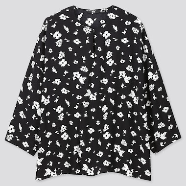 Women Printed 3/4 Sleeve Blouse, Black, Medium