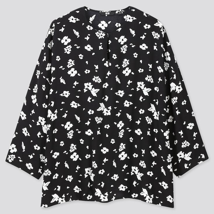 Women Printed 3/4 Sleeve Blouse, Black, Large