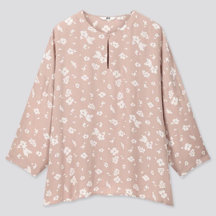 Women Printed 3/4 Sleeve Blouse, Pink, Large