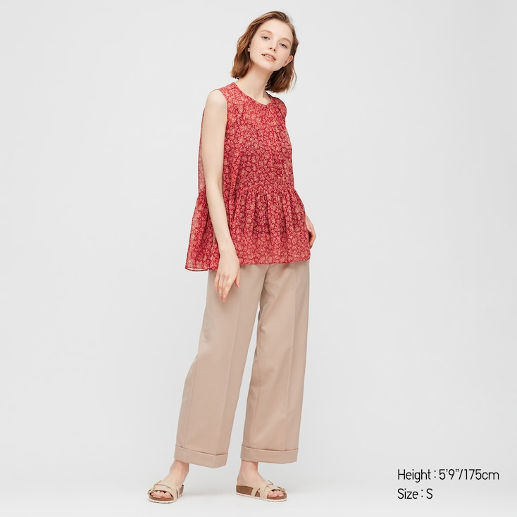 Women Joy Of Print Chiffon Sleeveless Blouse, Red, Large