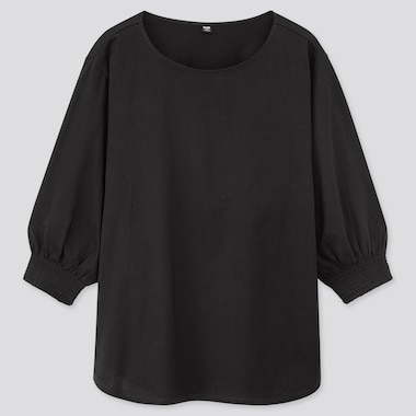 Women Mercerized Cotton Shirring 3/4 Sleeve T-Shirt, Black, Medium