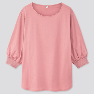 Women Mercerized Cotton Shirring 3/4 Sleeve T-Shirt, Pink, Medium