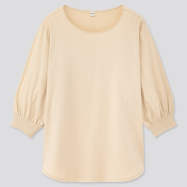 Women Mercerized Cotton Shirring 3/4 Sleeve T-Shirt, Natural, Medium
