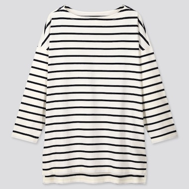 Women Striped Boat Neck Long-Sleeve Tunic, Off White, Medium