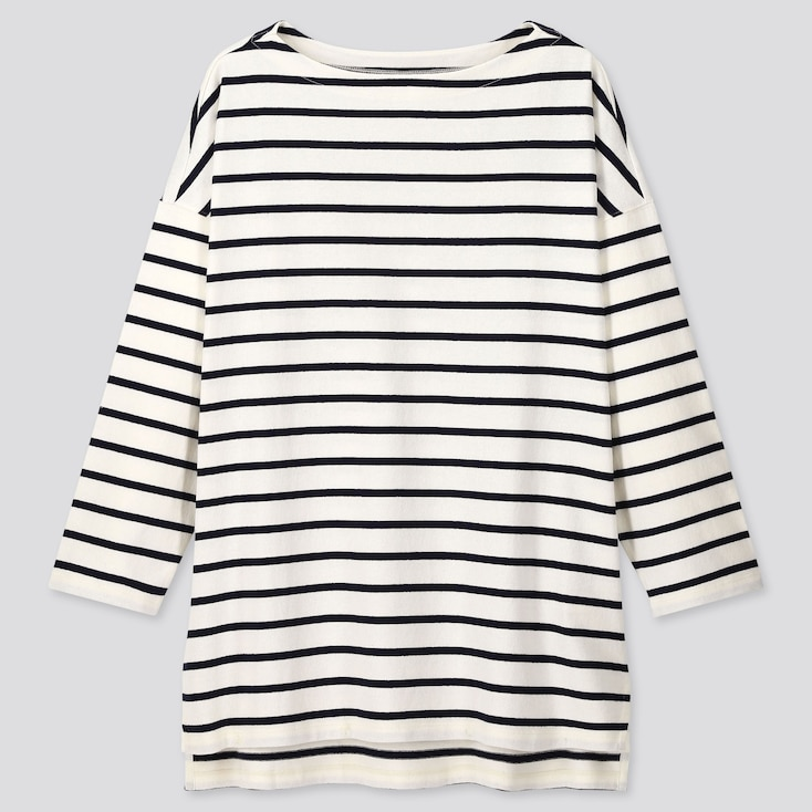 Women Striped Boat Neck Long-Sleeve Tunic, Off White, Large