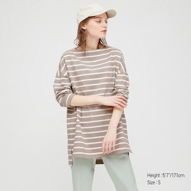 Women Striped Boat Neck Long-Sleeve Tunic, Beige, Medium