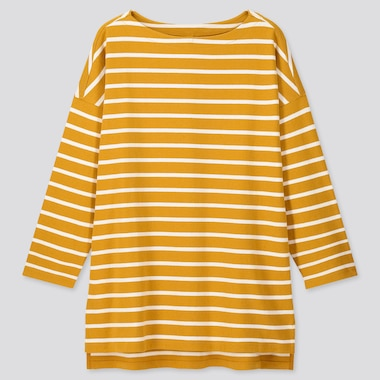 Women Striped Boat Neck Long-Sleeve Tunic, Yellow, Medium