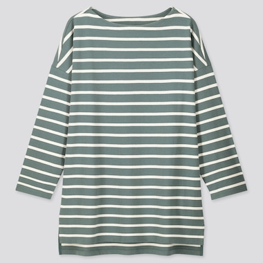 Women Striped Boat Neck Long-Sleeve Tunic, Green, Medium