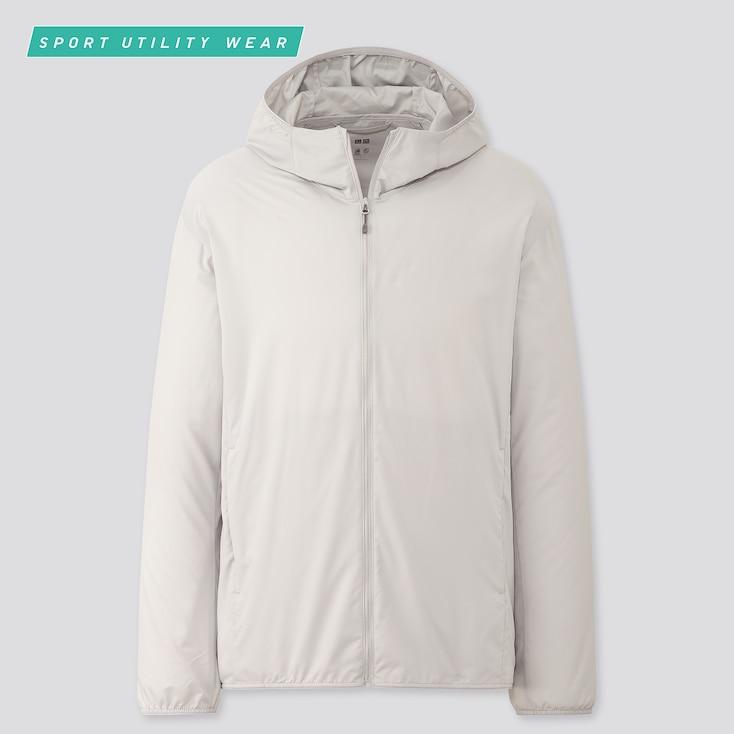 Men Pocketable Uv Protection Parka, Light Gray, Large