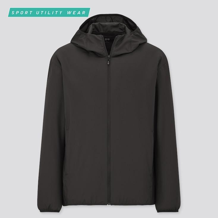 Men Pocketable Uv Protection Parka, Black, Large