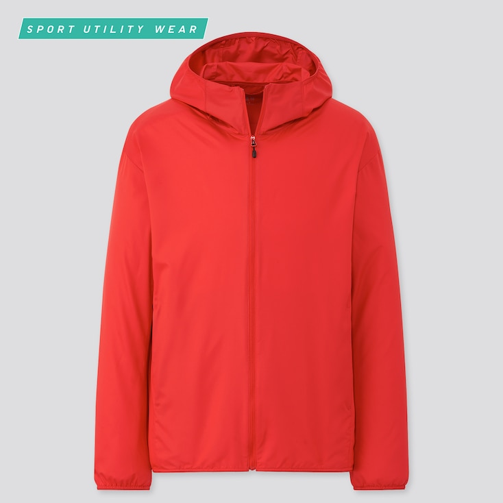 Men Pocketable Uv Protection Parka, Red, Large