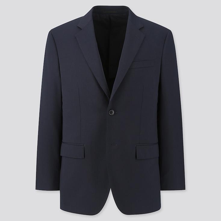 Men Stretch Wool Jacket, Navy, Large