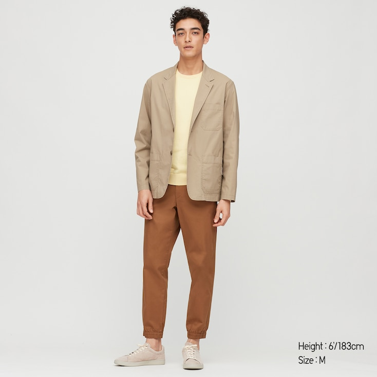 Men Lightweight Cotton Jacket, Beige, Large