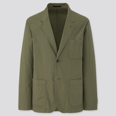 Men Lightweight Cotton Jacket, Olive, Medium