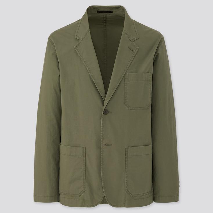 Men Lightweight Cotton Jacket, Olive, Large