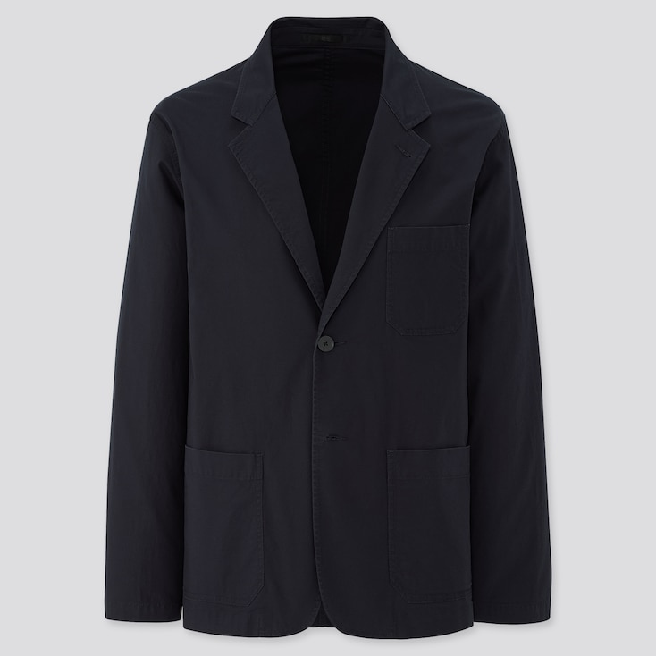 Men Lightweight Cotton Jacket, Navy, Large