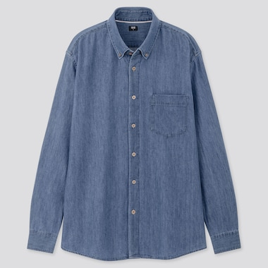 Men Denim Long-Sleeve Shirt (Online Exclusive), Blue, Medium