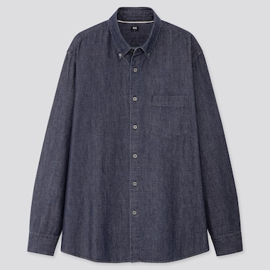 Men Denim Long-Sleeve Shirt (Online Exclusive), Navy, Medium