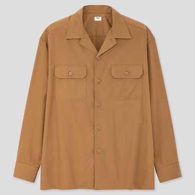 Men Oversized Work Long-Sleeve Shirt, Brown, Medium