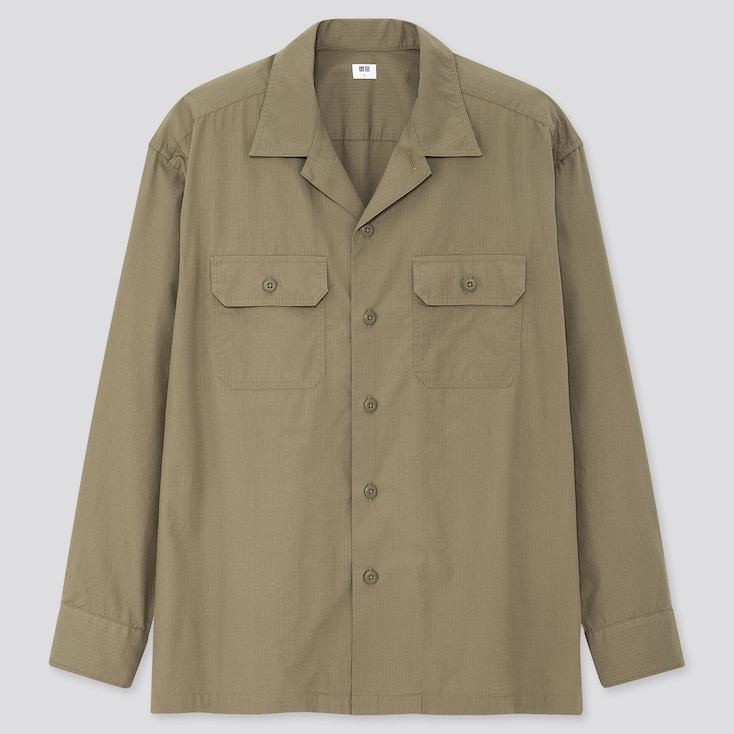 Men Oversized Work Long-Sleeve Shirt, Olive, Large