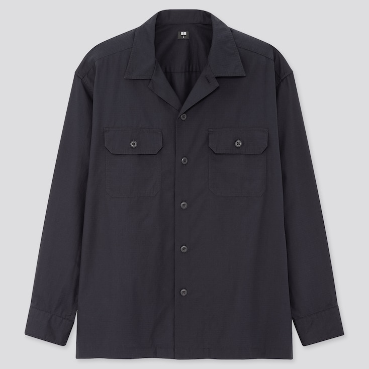 Men Oversized Work Long-Sleeve Shirt, Navy, Large