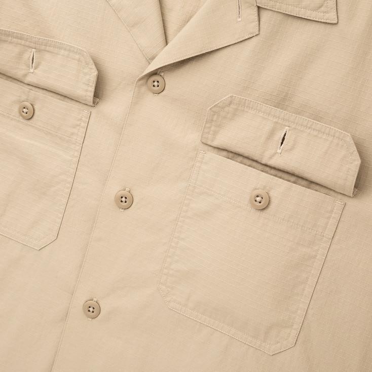Men Oversized Work Long-Sleeve Shirt, Beige, Large