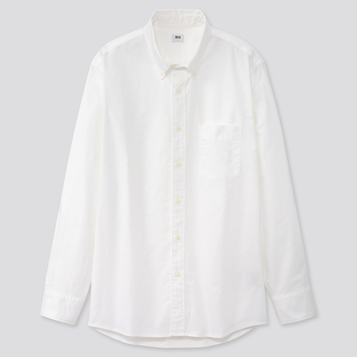 Men Oxford Regular-Fit Long-Sleeve Shirt (Online Exclusive), Off White, Large