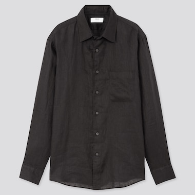 Men Premium Linen Long-Sleeve Shirt, Black, Medium